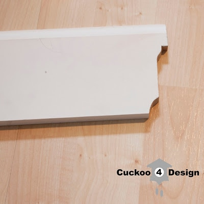 molding cut with coping saw for vanity toe kick