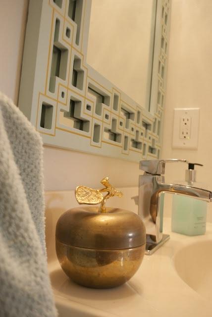 gold and mint greek key mirror