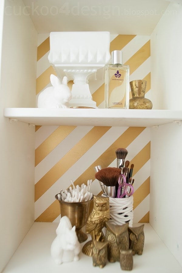 gold striped medicine cabinet