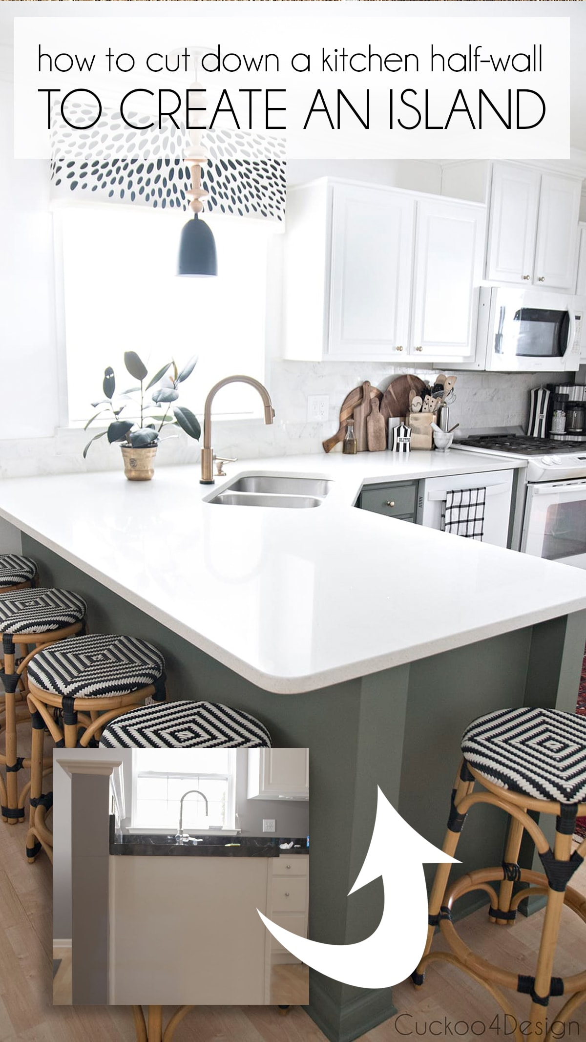 how to cut down a kitchen half wall to create a kitchen island for counter stools