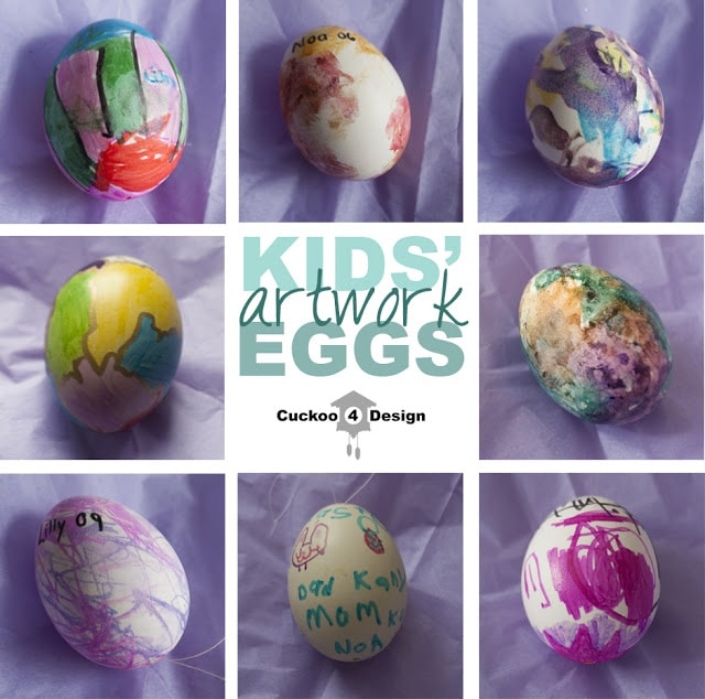 Easter egg with kids' artwork