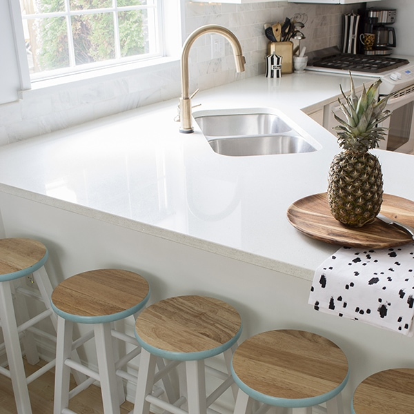 painted barstools in white kitchen - Cuckoo4Design