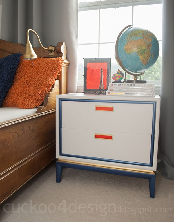 midcentury modern nightstand makeover in white, orange, blue and gold