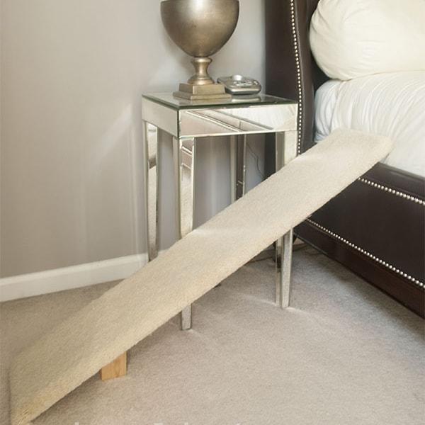 Carpeted ramp for elderly cat