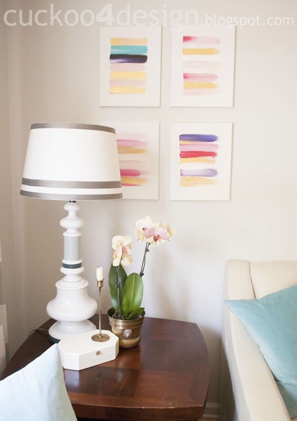 DIY abstract paintings for the living room in pastels