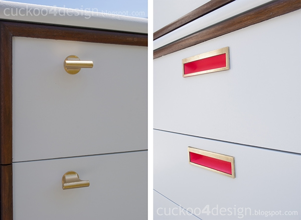 midcentury dresser makeover by cuckoo4design in brass, white and neon pink