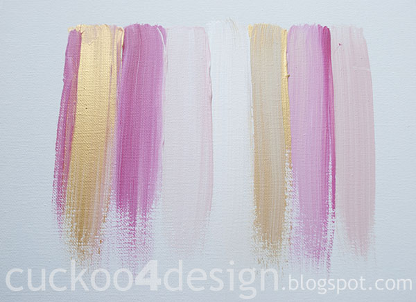 DIY pink, gold and white abstract brushstroke painting