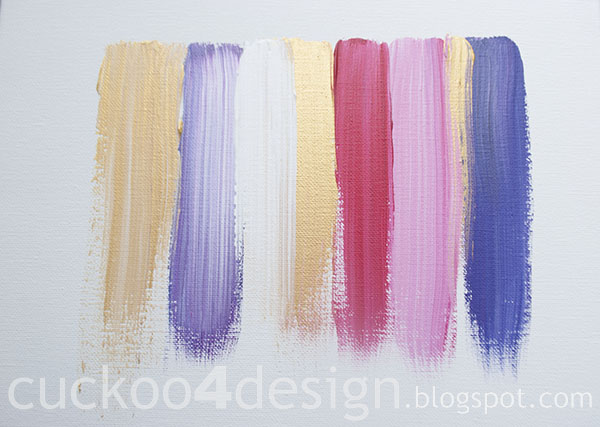 DIY pink, gold, purple and white abstract brushstroke painting