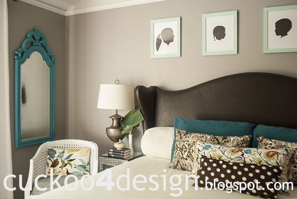 teal, turquoise, mint, white and brown bedroom by cuckoo4design