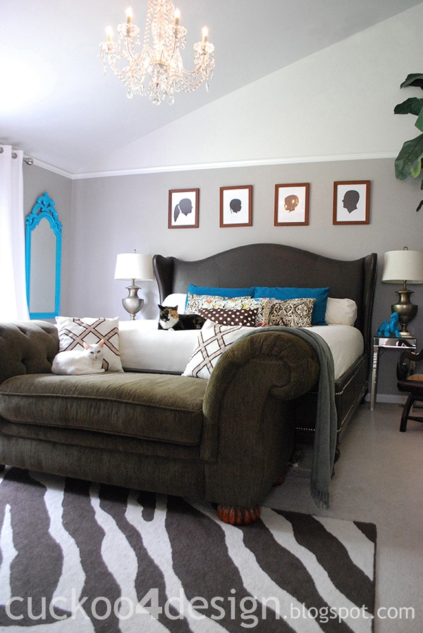 turquoise white and brown bedroom with magnussen leather bed by