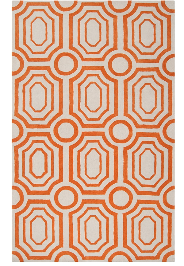 Orange and white geometric area rug
