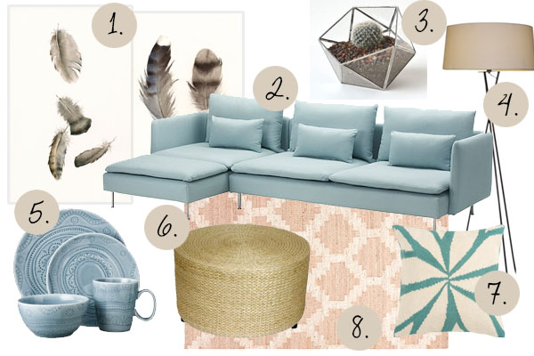 Mood Board With Ikea SÖDERHAMN Sofa And Calming Summer Colors (feather  Artwork) #moodboard