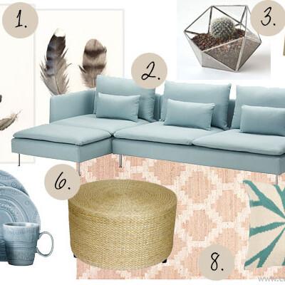 Moodboard with Ikea SODERHAMN sofa