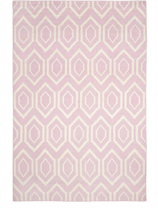 Moroccan Dhurrie Pink/ Ivory Wool Rug