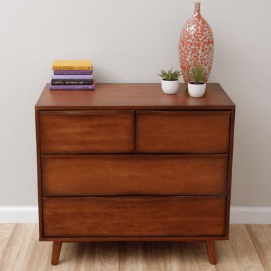 midcentury modern antique honey dresser