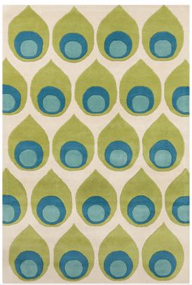 green, blue and cream midcentury modern area rug