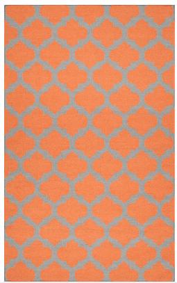 Orange and grey moroccan wool area rug