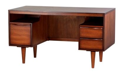 antique honey midcentury modern desk