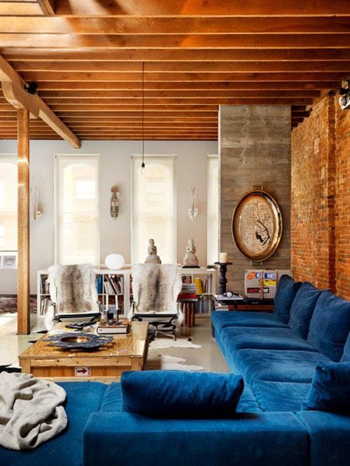 large blue velvet sectional