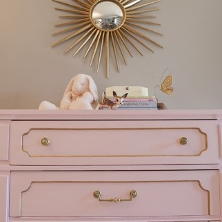 Pink and gold chalk paint dresser