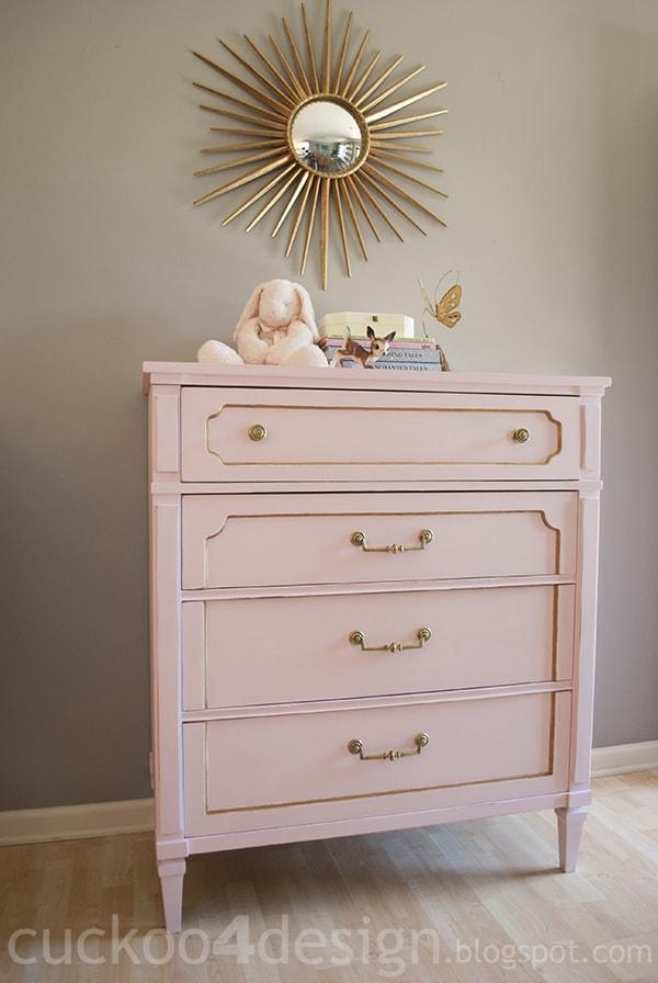gold and pink DIY chalk paint dresser