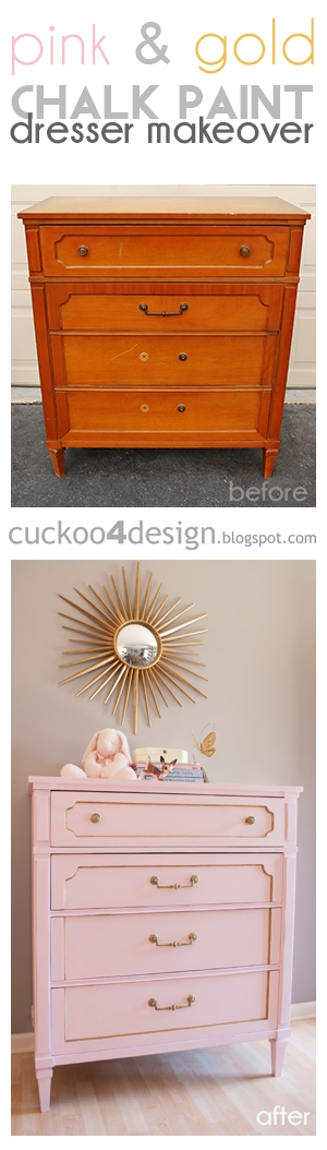 pink and gold chalk paint dresser makeover