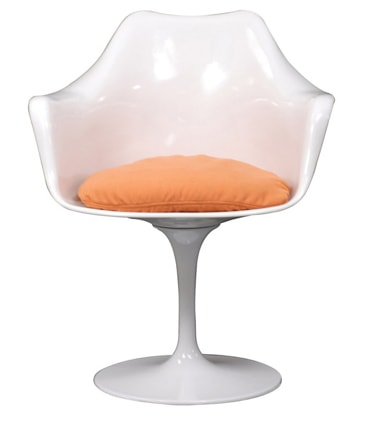 white and orange tulip chair