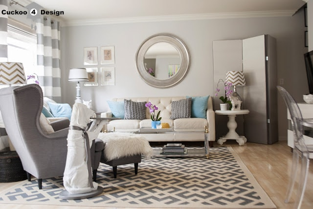 grey and white living room with added pops of color