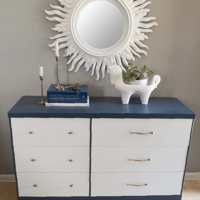 Blue and white dresser makeover
