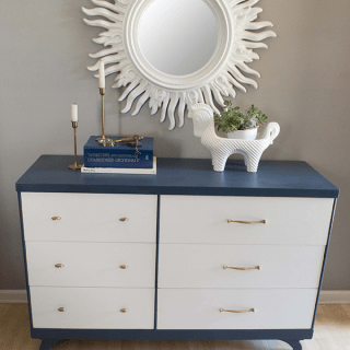 blue and white painted midcentury modern dresser