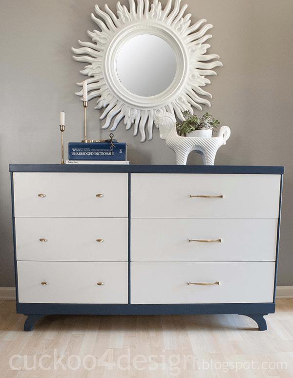 blue and white dresser makeover cuckoo4design. Black Bedroom Furniture Sets. Home Design Ideas
