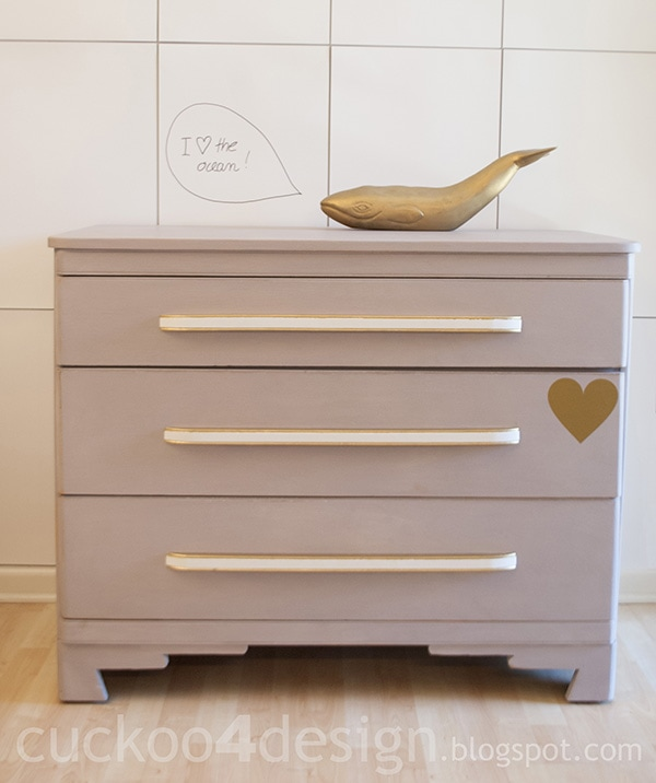 gold, grey and white chalk paint dresser by Cuckoo4Design