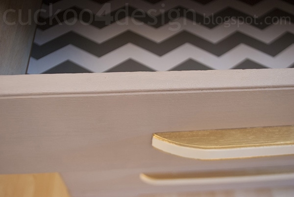 modern oak dresser drawer detail in Annie Sloan Paloma Chalk Paint