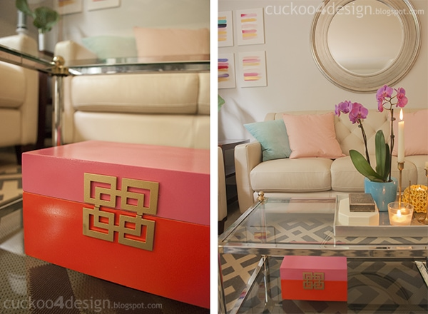 pink, orange and gold decorative box makeover by cuckoo4design