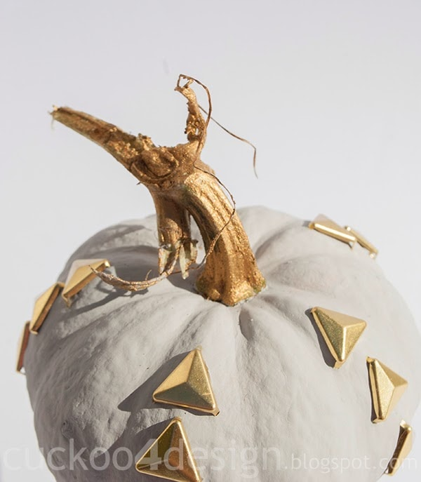 gold studded Annie Sloan Paris Grey pumpkin by cuckoo4design