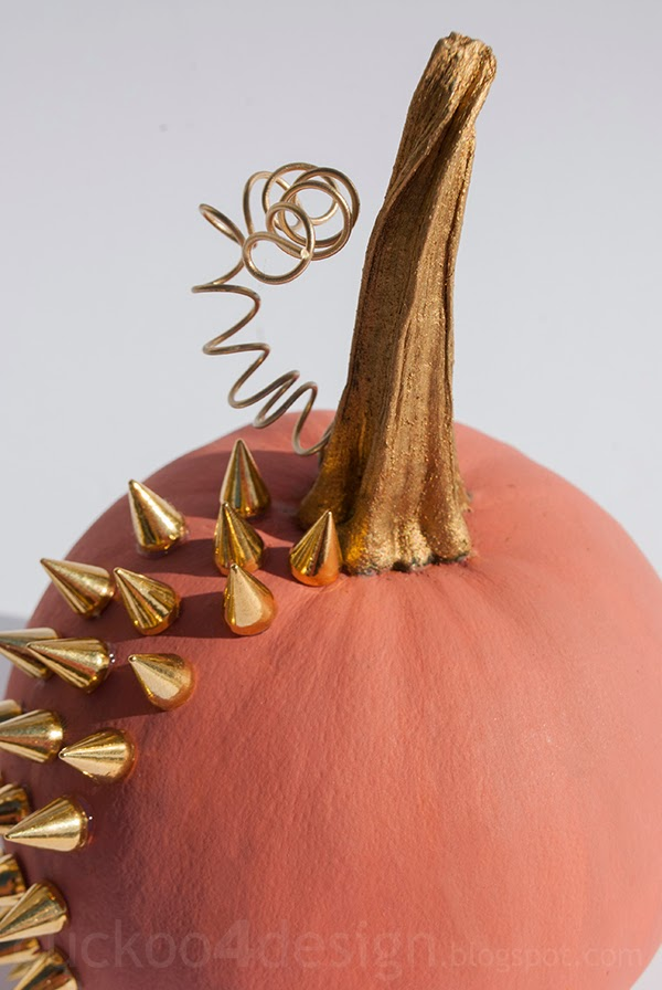 coral and gold studded pumpkin