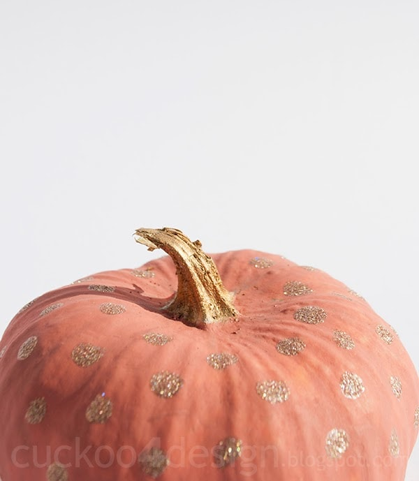 coral and gold glitter pumpkin cuckoo4design