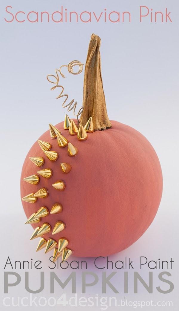 Scandinavian Pink Annie Sloan studded pumpkin