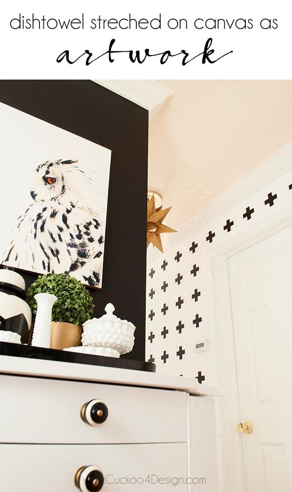 DIY Dishtowel Canvas Art | easy canvas art | art for beginners | how to make your own art | using kitchen supplies as art | owl art | black and white owl | cheap canvas art