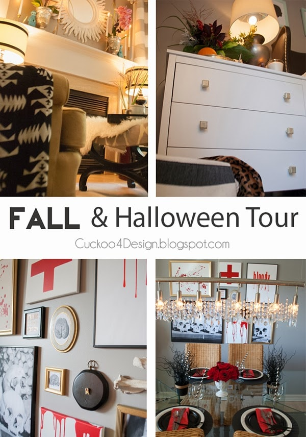 fun Fall and Halloween Tour | bloody table scape | turquoise accents in fall tour