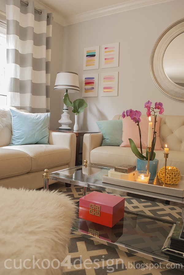 pink, orange and gold decorative box makeover for the living room