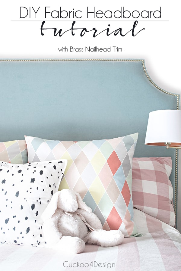 DIY fabric headboard with brass nailhead trim