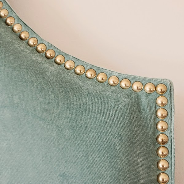DIY DIY fabric headboard tutorial with individual brass nailhead trim