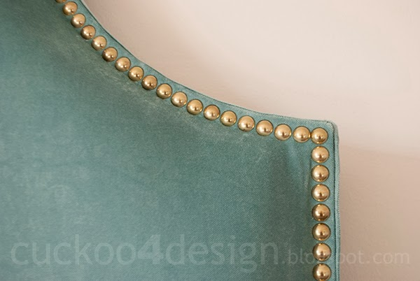 brass nails used for velvet headboard