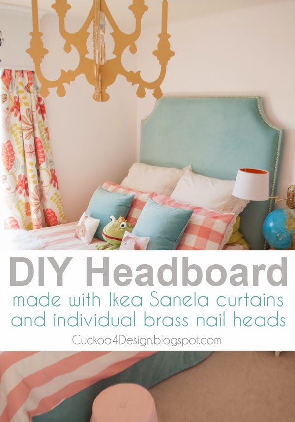 DIY headboard tutorial with individual brass nails