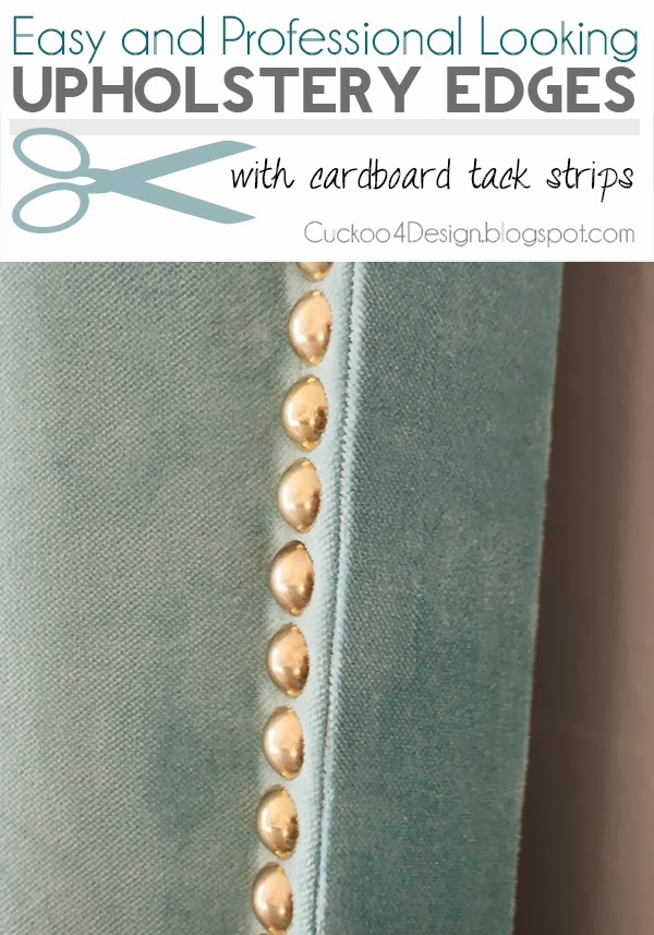 professional looking upholstery edge on DIY fabric headboard
