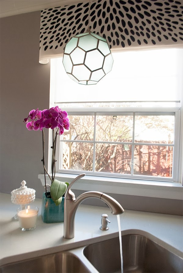 black and white spotted window valance