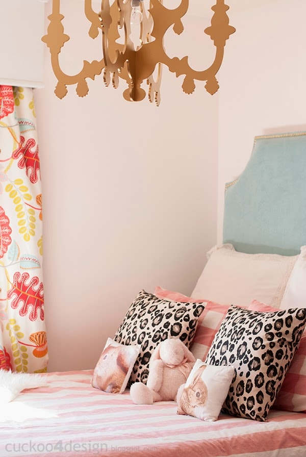 DIY fabric headboard in pink girls room
