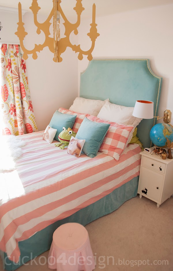 turquoise velvet DIY fabric headboard in little girls room