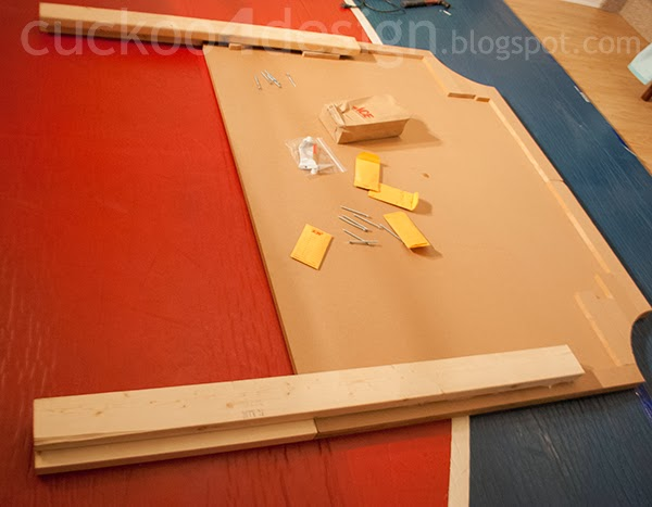 building the MDF bead frame for the DIY fabric headboard